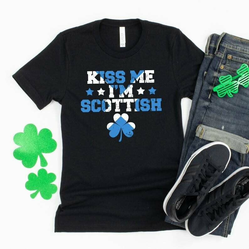 Kiss Me I'm Scottish Shirt, Scottish Irish Funny T-Shirt, Shamrock Shirt For Women, St Pattys Day Outfit Men, Flag Of Scotland