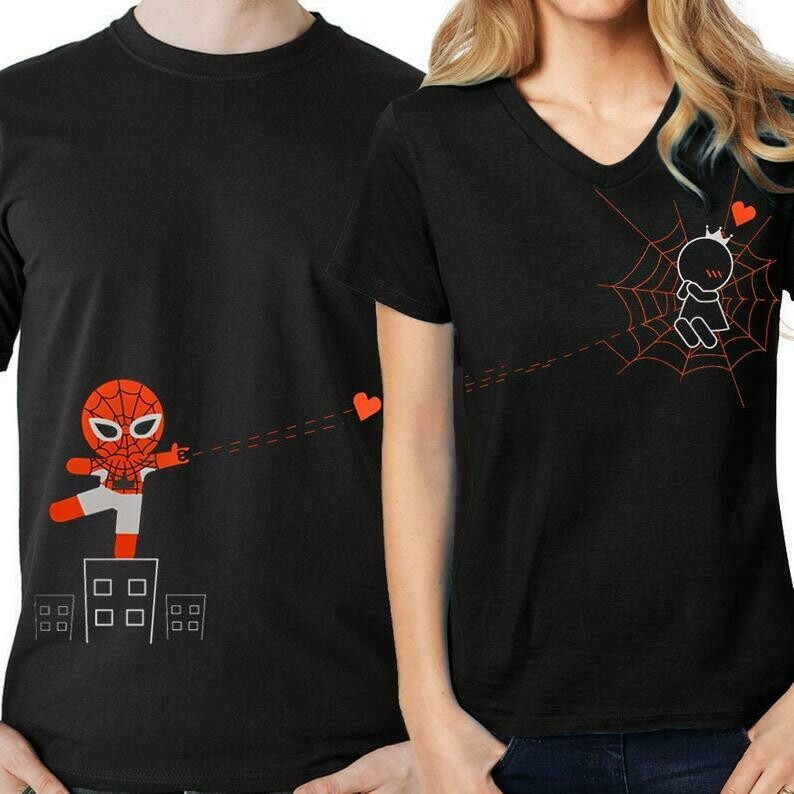 His and Hers Couples Shirts Matching Couple Shirts Avengers Shirt Spiderman Shirt Funny Couples Shirts Captured by Your Love Black BoldLoft