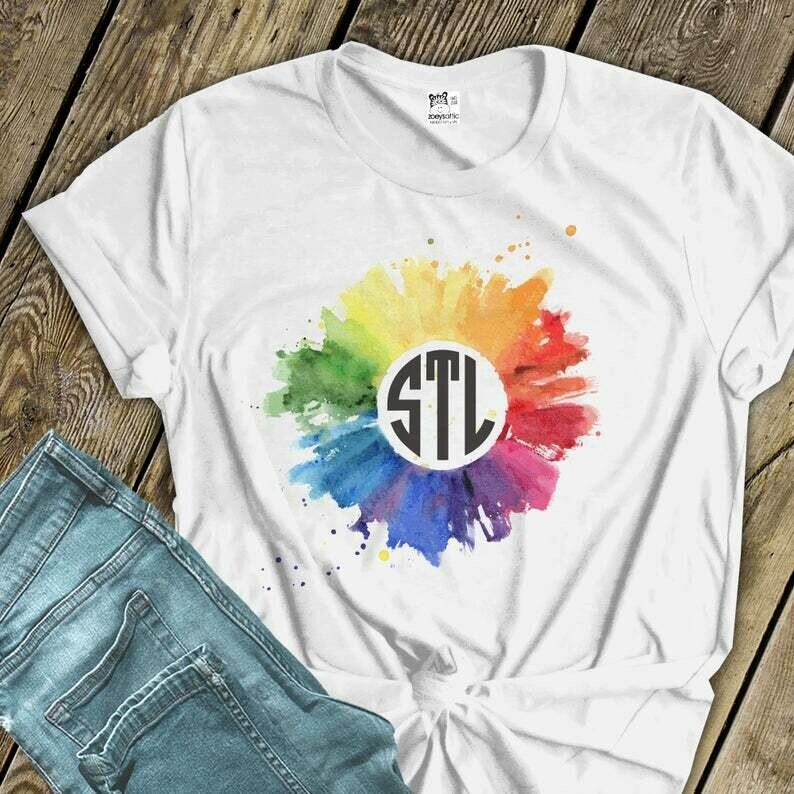 Pride shirt | gay pride rainbow watercolor city abbreviation or monogram unisex tshirt | LGBTQ shirts | gay pride unisex tee MPS-021