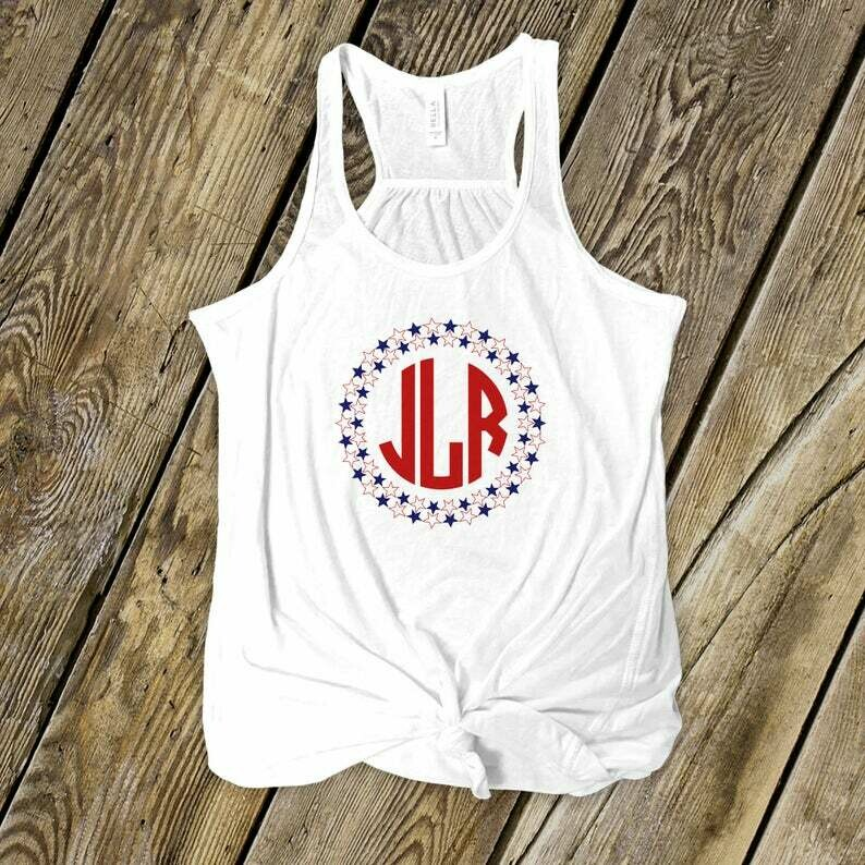 Star spangled patriotic monogrammed flowy tank top - personalized monogram tank - MMON-024-Flowy