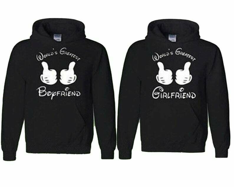 Couple Hoodie Worlds Greatest Boyfriend Worlds Greatest Girlfriend Matching Sweatshirts Love Couple Hoodie Fast Prior ---- BLACK-BLACK