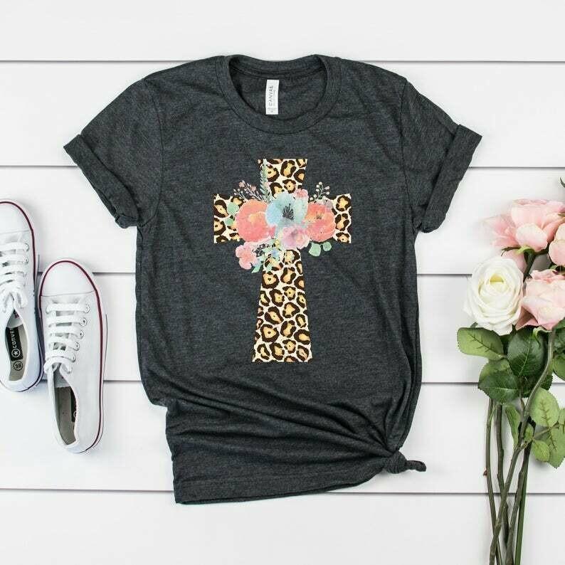 Leopard Floral Cross Shirt | Cute Easter Shirt | Leopard Print Cross Shirt | Cute Christian Shirt for Women