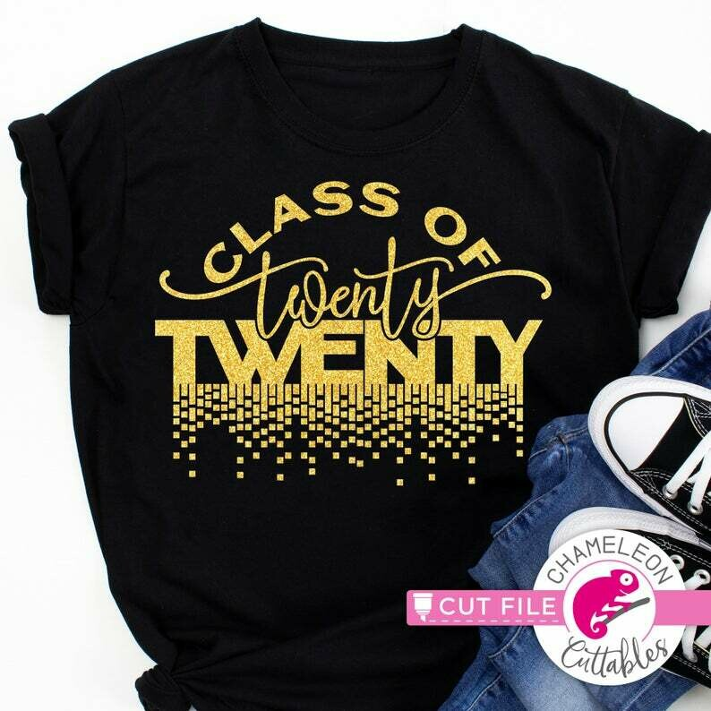Class of twenty twenty, 2020, Graduation SVG dxf File for Cutting Machines like Silhouette Cameo and Cricut, Commercial Use Digital Design