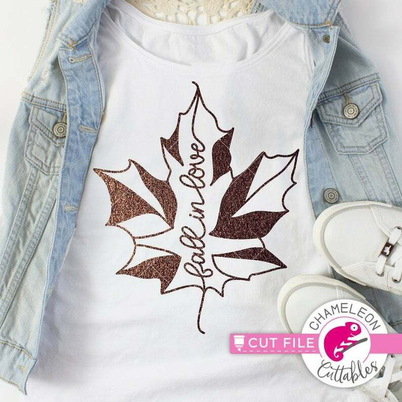 Fall in Love, Leaf design for shirt, SVG, dxf, autumn, maple, for Cutting Machine, Silhouette Cameo, Cricut, Commercial Use Digital Design