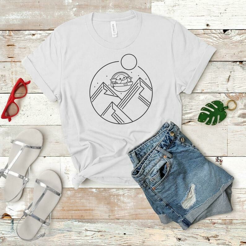 Baby Yoda Shirt, Minimal Disney Shirt, Mandalorian Shirt, Simple Disney Shirt, Disney Line Art, Baby Alien, Baby Yoda Cute, Galaxy Edge Tee