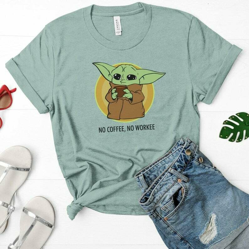 Baby Yoda Coffee, Baby Yoda Shirt, Mandalorian Coffee, Coffee Lovers Gift