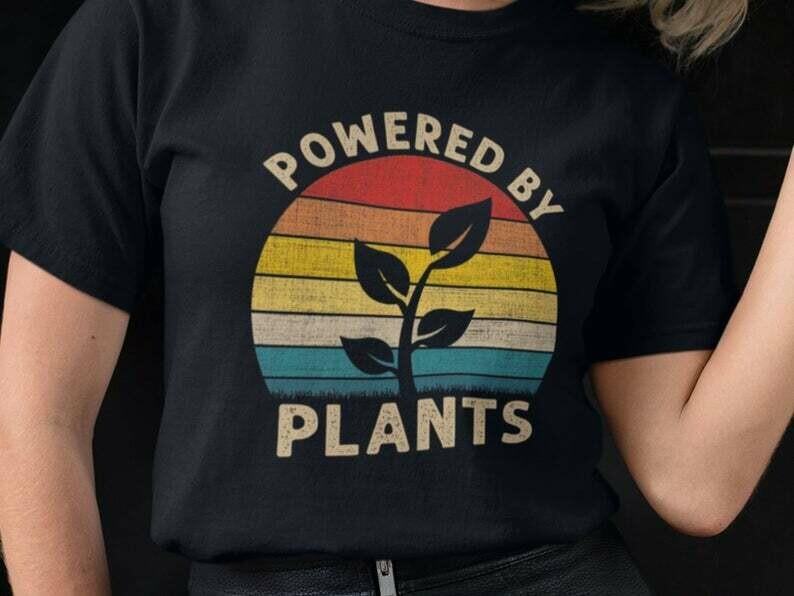 Powered By Plants, Vegetarian Shirt, Vintage Shirt, Vegan Shirt, Vegetarian Quote, Animal Rights, Animal Lovers, Herbivore Shirt, Retro
