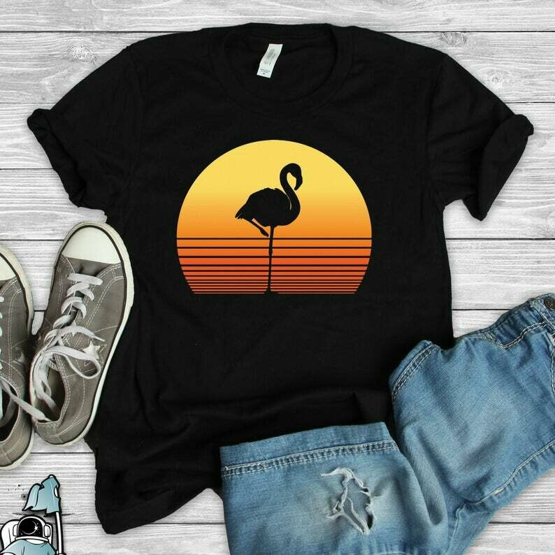 Sunset Flamingo, Beach Party T-Shirt, Pool Party Shirt, Flamingo Gift, Flamingo Shirt, Cute Summer Shirt, Flamingo Lover Gift