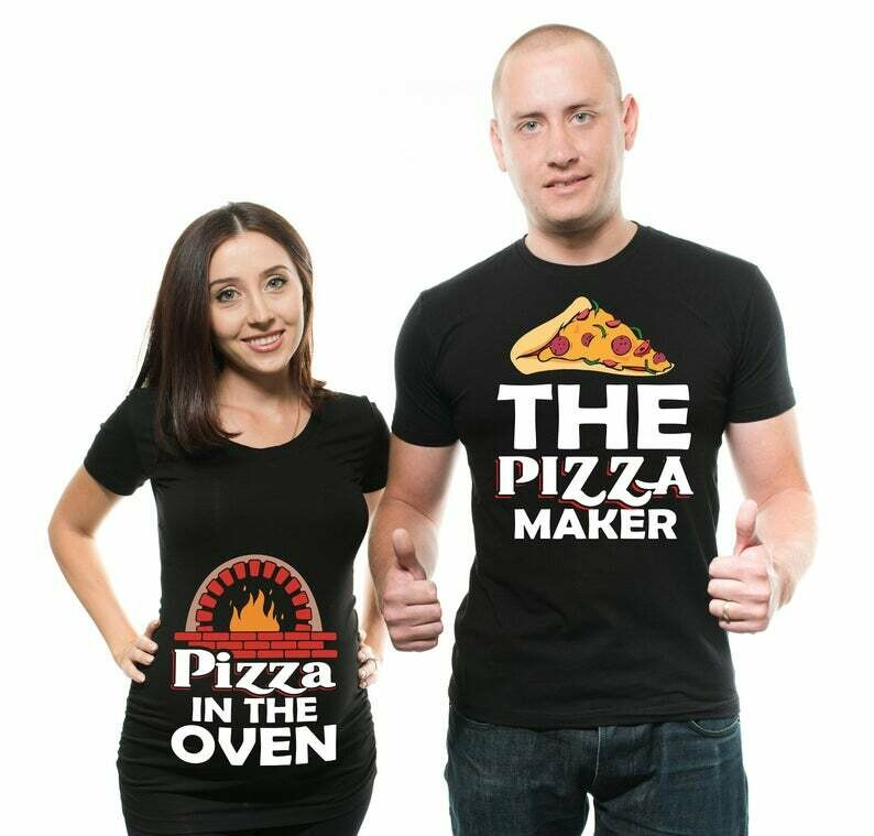 Couple Funny Maternity Shirts Pizza Maker Pizza in the Oven Pregnancy T-shirt Baby Announcement Funny Couple Pregnancy Set Shirts New Baby T