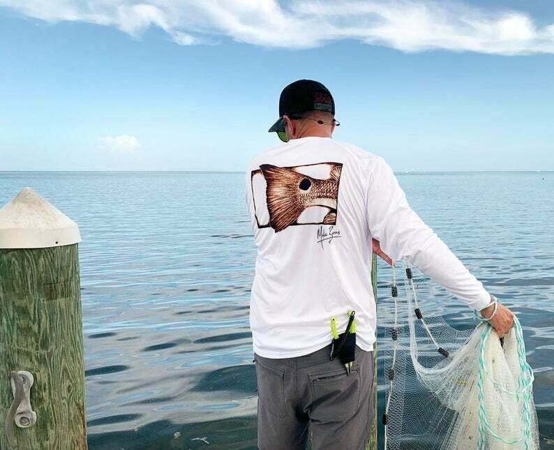 Redfish Performance Fishing Shirt - Fly Fishing Gift for Men, Fish Art print, men's Fishing Accessories, boyfriend gift, mokie burns fishing