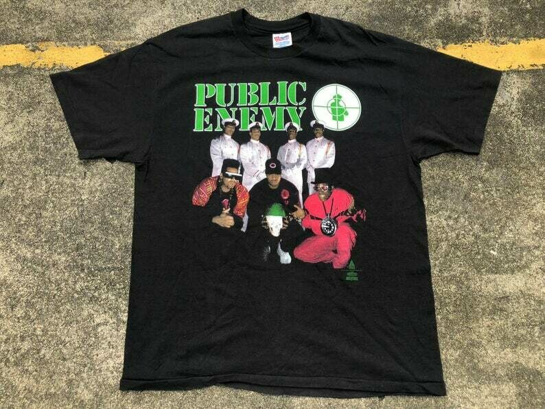 VTG 1991 Def Jam Records Public Enemy Apocalypse 91...The Enemy Strikes Black T-Shirt Thrifted by 90s_TPT