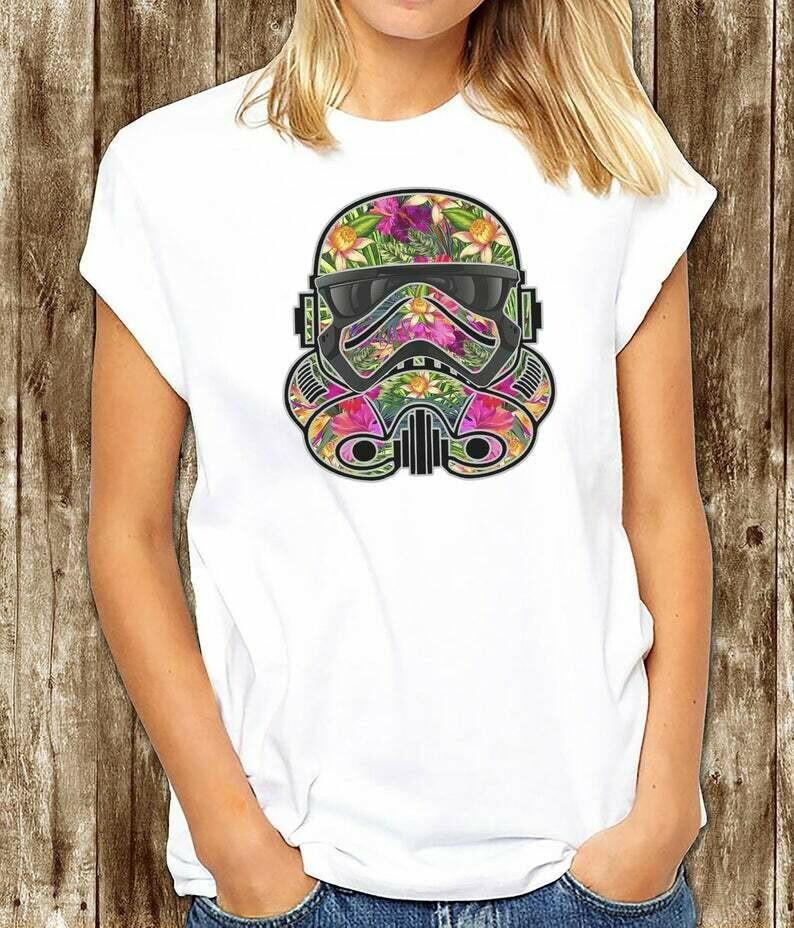 Star Wars Tropical Flower Storm Trooper Star wars Disney T-Shirt - Jango Fett - FINN - Captain Phasma - The Force Awakens
