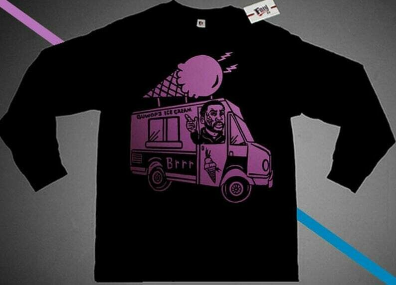 Long Sleeve Black Pink Gucci Mane Ice Cream Truck Man crewneck shirt