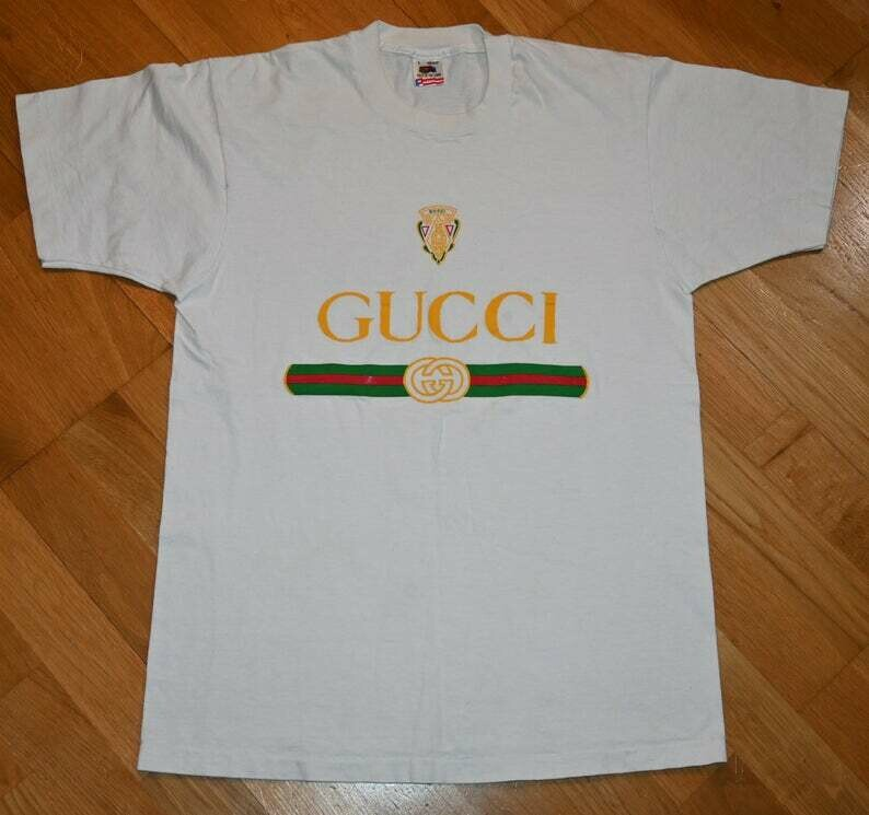 80's 90's GUCCI LOGO vintage original nyc Hip-Hop Grunge Hipster tee t-shirt (XL) X-Large 1980's 1990's Tshirt New York City Tourist GiFT