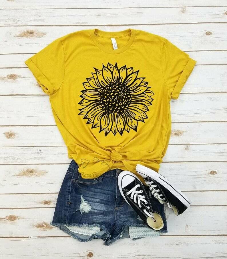 Sunflower - unisex tshirt. sunflower shirt, floral t shirt, indie shirt, garden shirt, womens fall shirt, sunflower tshirt, sunflower shirts