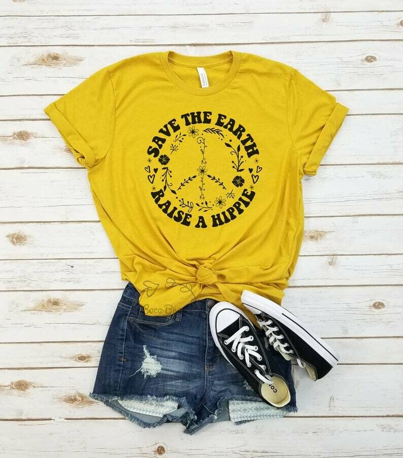 Save the earth raise a hippie - unisex tshirt. Bee Lover shirt, Graphic Tee, Honey Bee shirt, Save the Bees Tshirt, botanical shirt, hippie