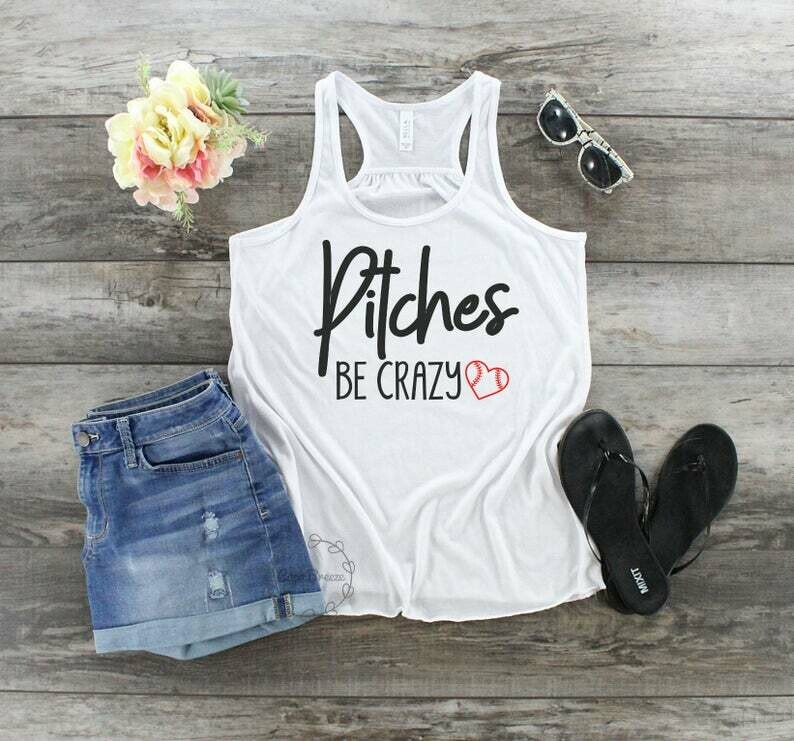 Pitches be crazy - womens racerback tank. baseball mom, baseball mom shirts, baseball gifts, ttball shirt, softball shirt, t-tball shirt