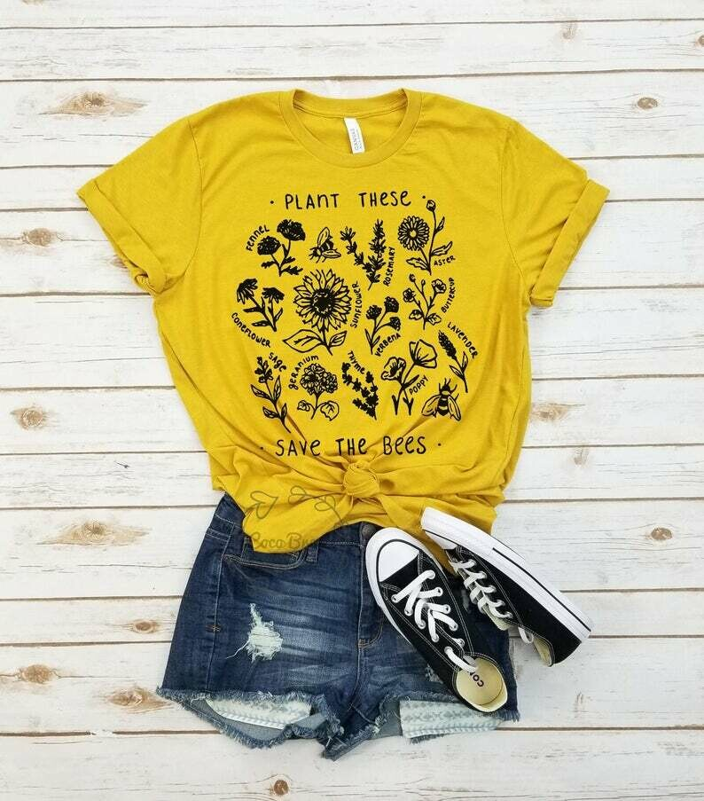 Plant these save the bees (black) - unisex tshirt. Bee Lover shirt, Graphic Tee, Honey Bee shirt, Save the Bees Tshirt, botanical shirt