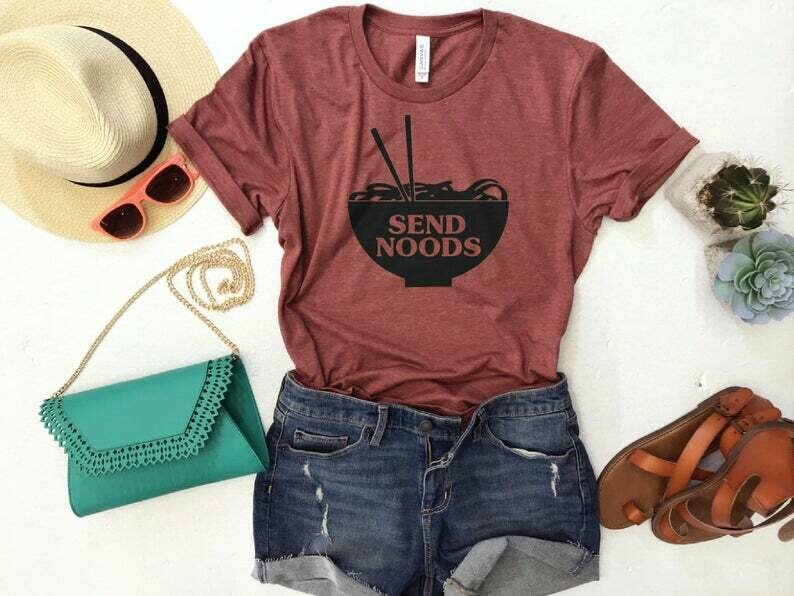 Send Noods Unisex Crewneck Tshirt, Funny Tee, Send Nudes Shirt, Gift for Foodie, Pho Lover Shirt