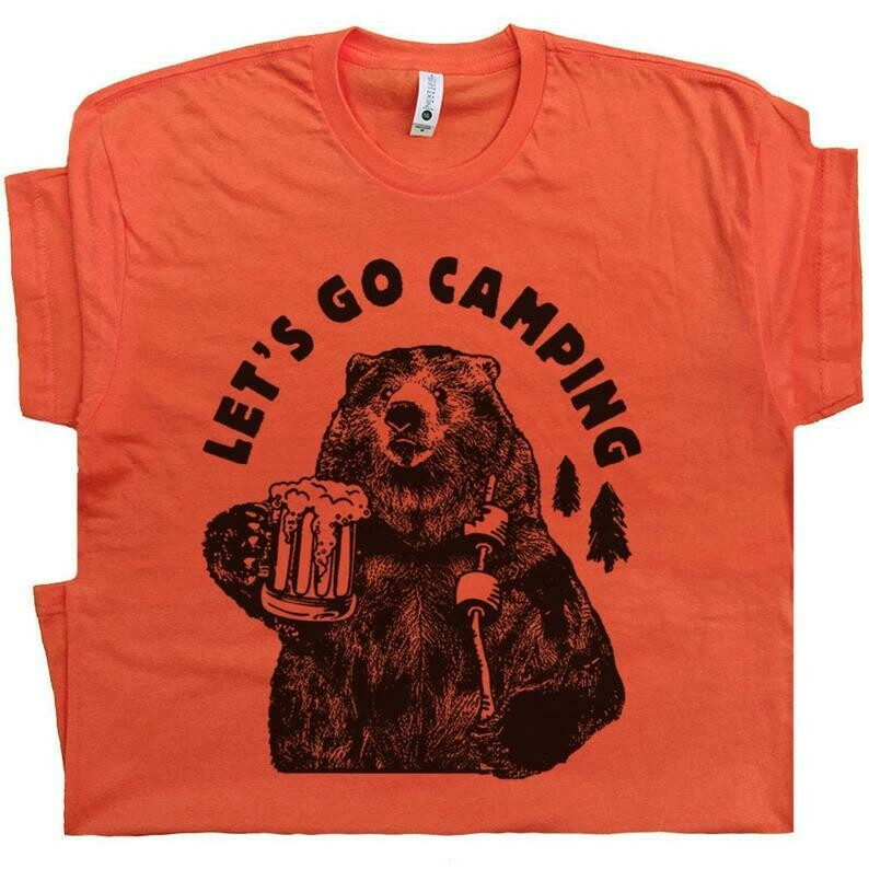 Let's Go Camping T Shirt Funny Camping Shirts with Cool Saying Grizzly Bear Camp Pun Tees For Men Women Great Smoky Smokey The Mountains