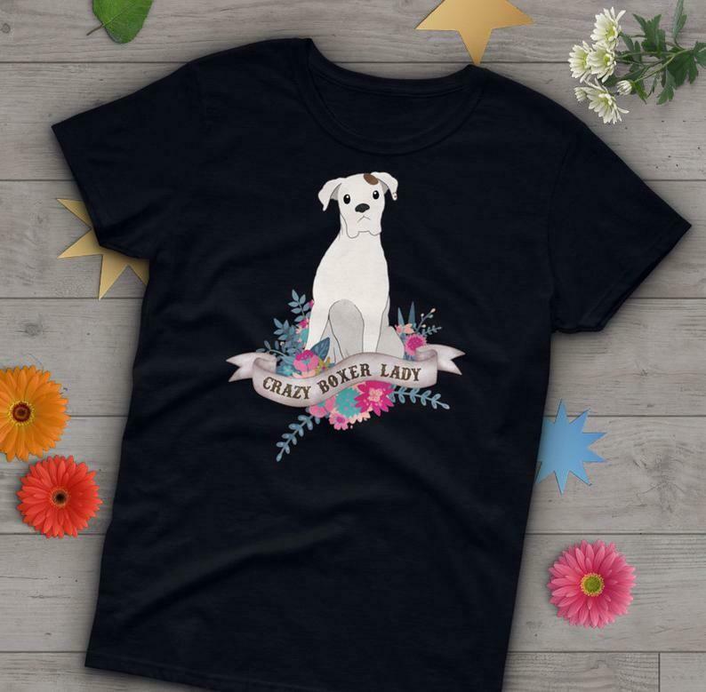 White Boxer Dog Shirt, Women, Dog Lover Gift, Cute Boxer Mom T-shirt, Boxer Dog Lover TShirt, Pet Graphic Tee, Dog Lover Tops Blue Navy Pink