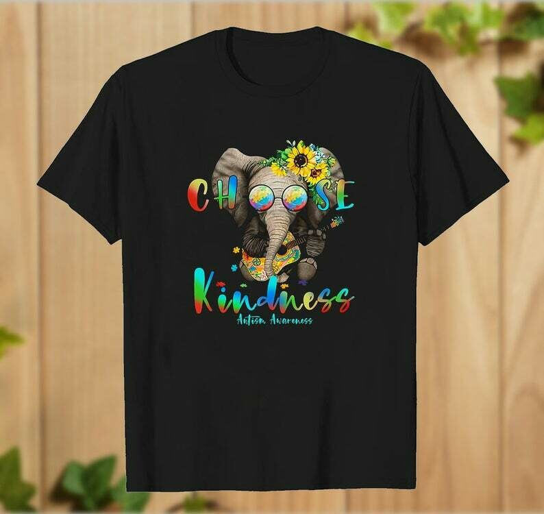 Hippie Elephant Hug Guitar Choose Kindness Autism Awareness Women Tshirt Elephant with Flower and Guitar Gift for Friend - hung09032020