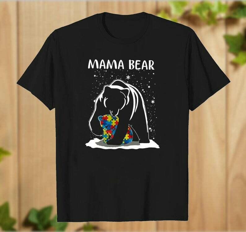 Autism Awareness Mama Bear Momma Cute Popular Woman_s Heather T-Shirt Mother and Baby Bear Hoodie- hung07032020