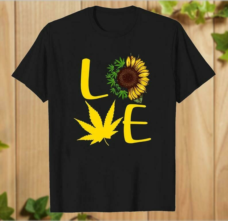 Sunflower Weed Cannabis Leaf Enthusiast marihuana love T-Shirt gift for Mens Womens - hung06032020