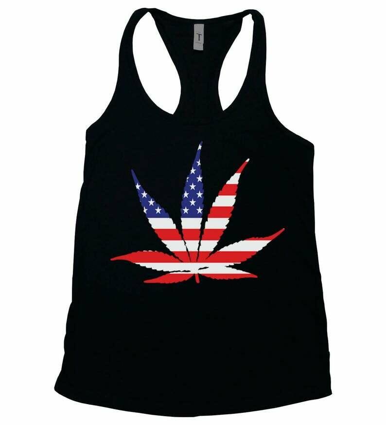 AMERICAN POT LEAF Tank, Women's Black Tank Top, Marijuana, Women's Weed Tank, Ganja Shirt, Legalization, Gift for Her, Ladies Pot Leaf Tank