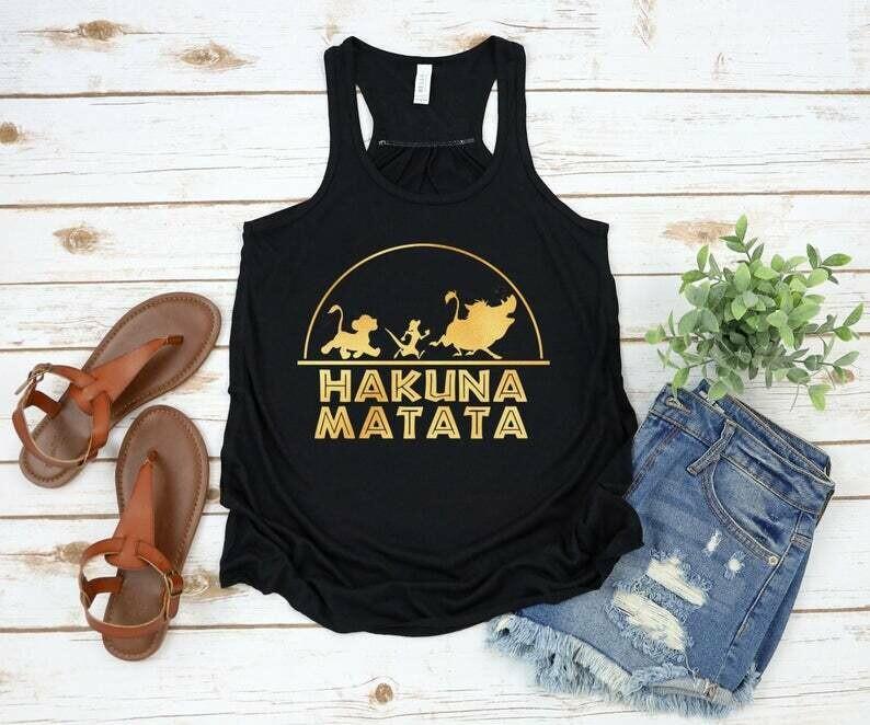 Rose gold Hakuna Matata Disney Flowy Tank, Disney tank, Disney shirts for women, Lion King Tank, Animal Kingdom tank, Disney vacation tank,
