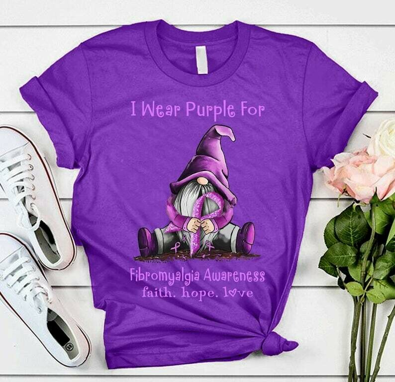 Gnome I Wear Purple for fibromyalgia Awareness faith hope Love Funny T Shirt gift for Her Him