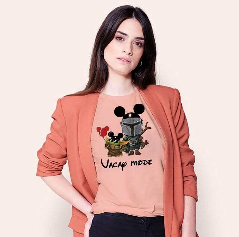 Vacay Mode Baby Yoda Disney Lovely Mickey The Mandalorian With Death Star Wars Movie T-Shirt