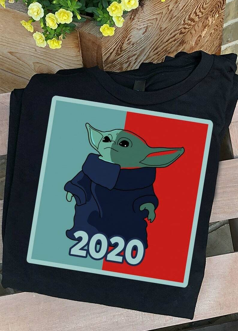 Baby Yoda 2020 this is the way Vote for USA President The Mandalorian with death Star Wars Movie USA Flag T-Shirts