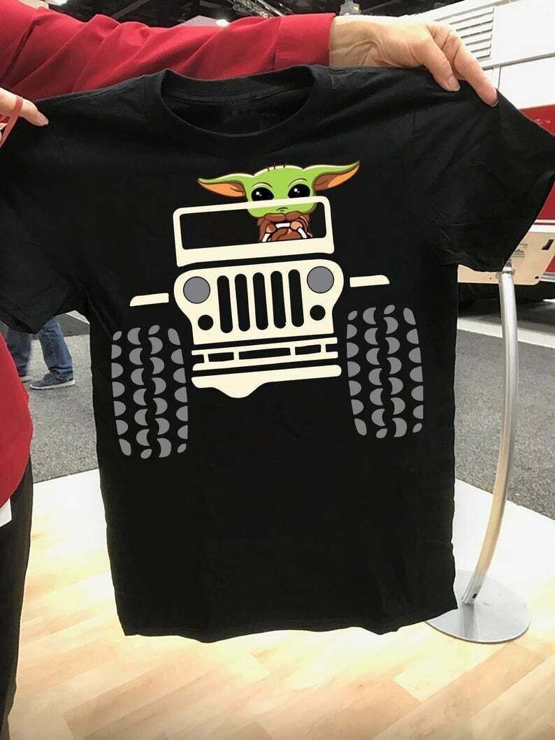 Baby Yoda Driving Jeep Car The Mandalorian with death Star Wars Movie The Rise of Skywalker Galaxy fan Gift T Shirt