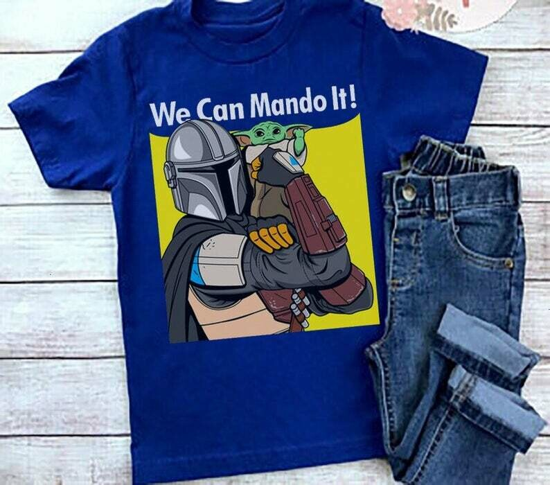 We Can Mando It Baby Yoda Mando '20 This Is The Way Master Of Bounty Hunting The Mandalorian with death Star Wars Movie USA Flag T-Shirts