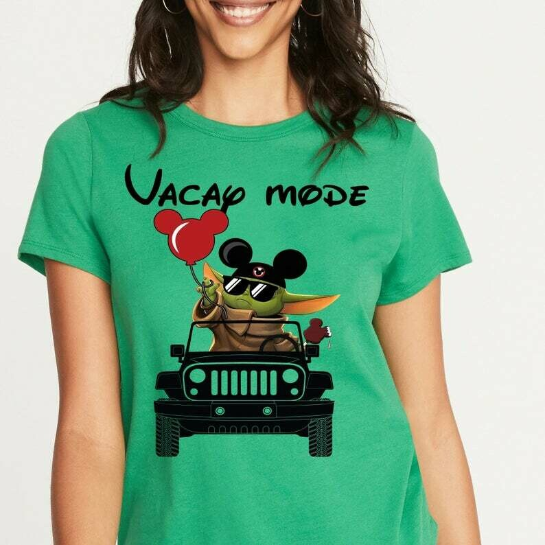 Vacay mode Baby Yoda Mickey Balloon Jeep The Mandalorian Star Wars Walt Disney Spring break 2020 Family Vacation Go to Disney World T Shirt