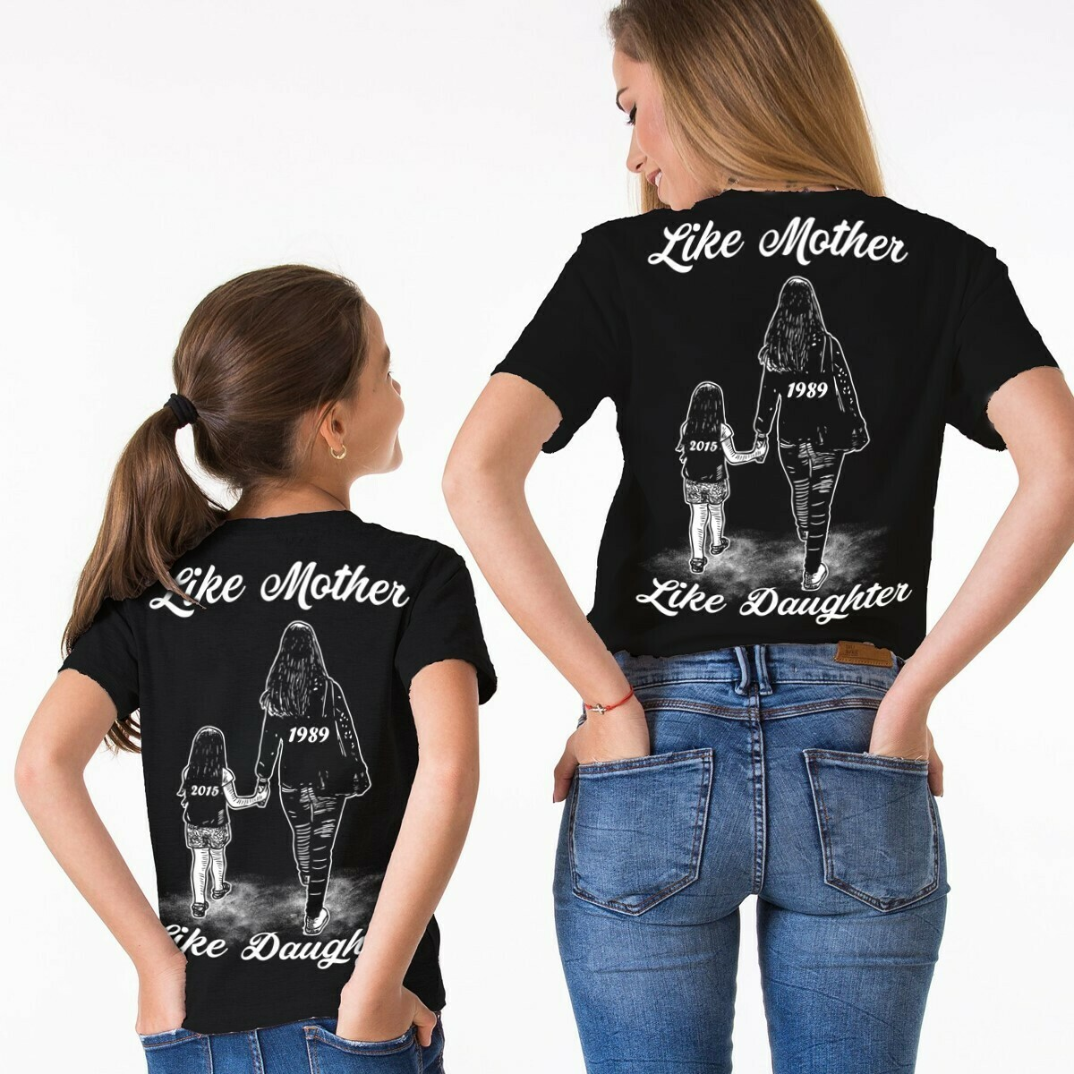 Pair of Like mother like daughter shirts, mother daughter shirts, mother and daughter shirts, matching mom and daughter shirts