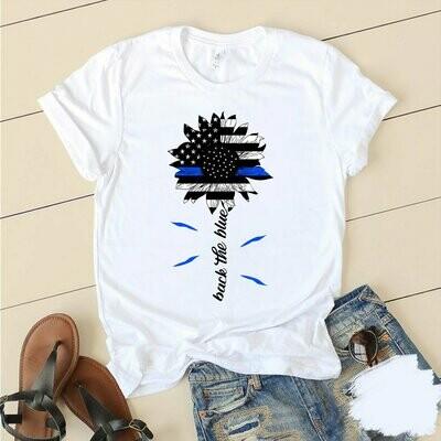 back the blue sun flower shirt