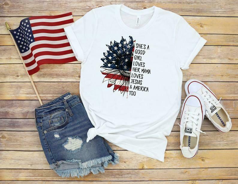 July 4th Tee T-shirt, Sunflower God Bless America Patriotic Shirt