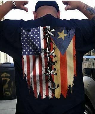 American And Puerto Rico flag Shirt