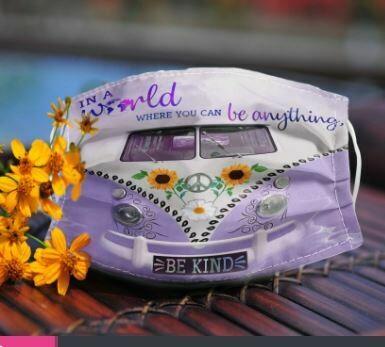 VW Volkswagen Bus Daisy Sunflower Peace cloth mask