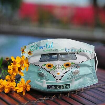 Hippie car In a world where you can be anything be kind Face Mask