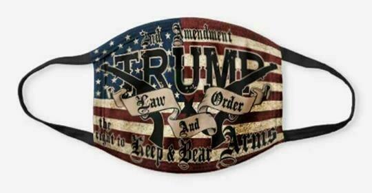 TRUMP 2020 LAW And ORDER 2nd AMENDMENT GUNS FLAG FACE MASK