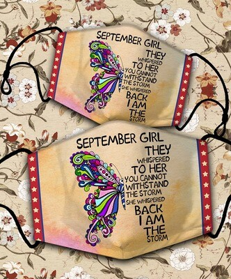 BUTTERFLY SEPTEMBER GIRL Personalized Face Mask Face Cover