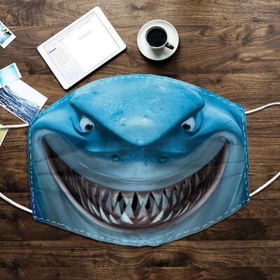 Funny Shark Smiling Washable Reusable Custom - Printed Cloth Face Mask Cover