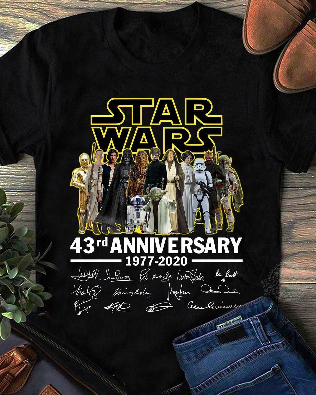 Star wars 43rd anniversary 1977-2020 signatures shirt, hoodie ...