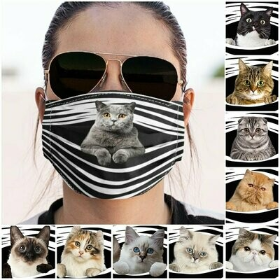 Face Mask With Filter Breathable Washable Face Mask Adjustable Ear Loop 3-Layer Funny Cat Face Mask Off Ear Animal Face Mask MADE in USA