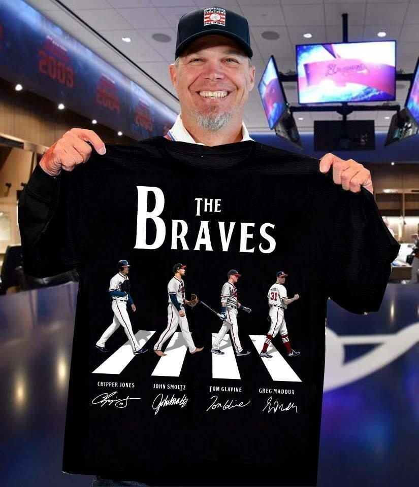 The Braves Chipper Jones John Smoltz Tom Glavine Greg Maddux signatures shirt