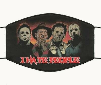I Hate People Horror Thriller Killer handmade face mask