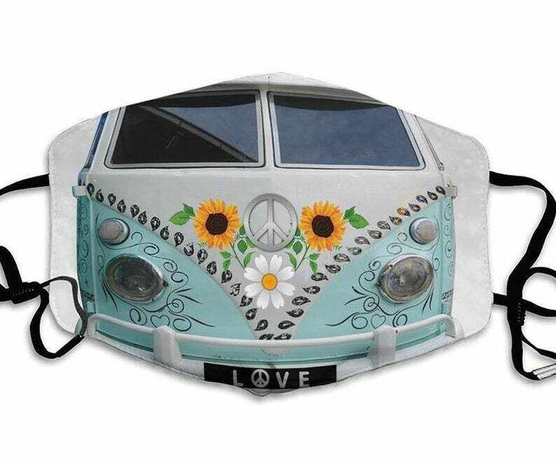 Hippie Van Sunflower handmade facemask